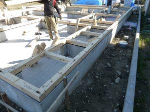 木造平屋建て注文木造住宅 土台伏せ